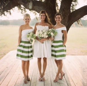 striped maids dresses four